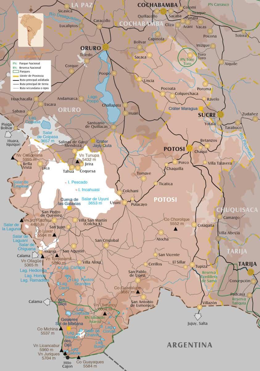 Carte de Potosi, Bolivie