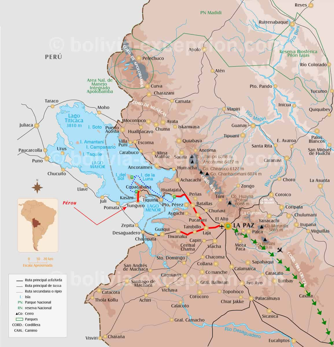 Carte La Paz Titicaca