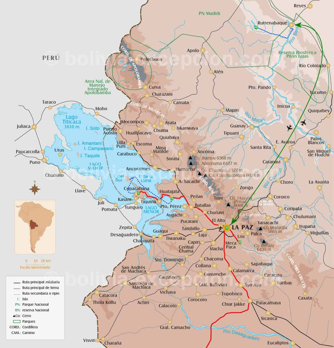 Carte Nord Bolivie