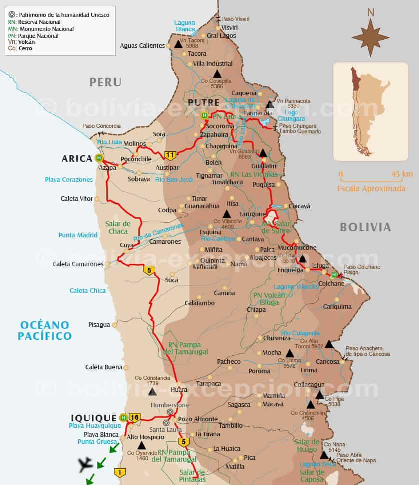 Carte nord Chili