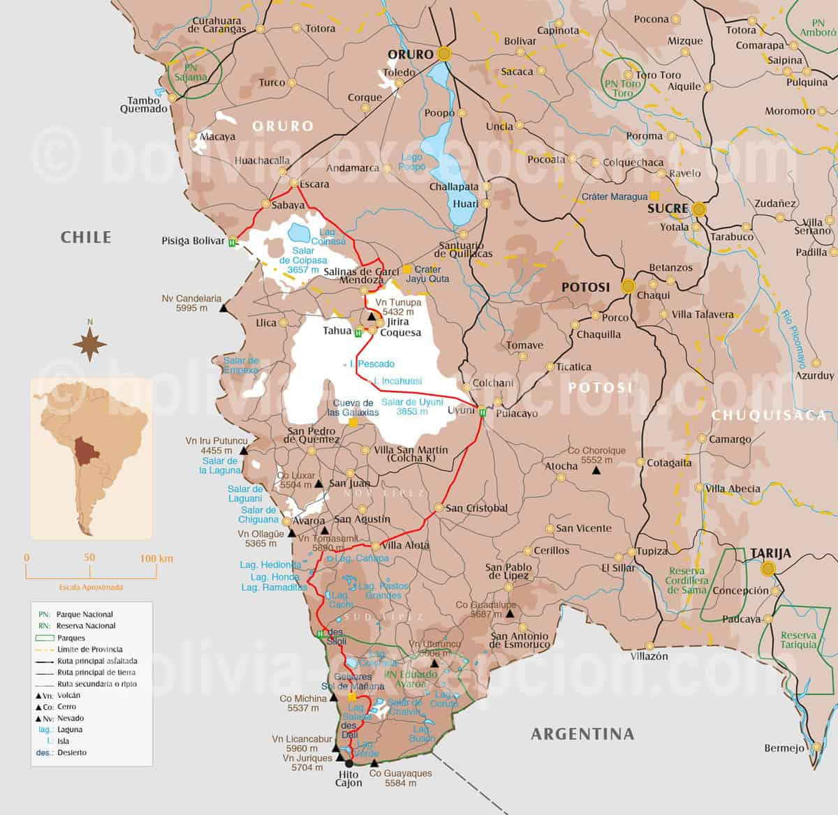 Carte Uyuni Bolivie