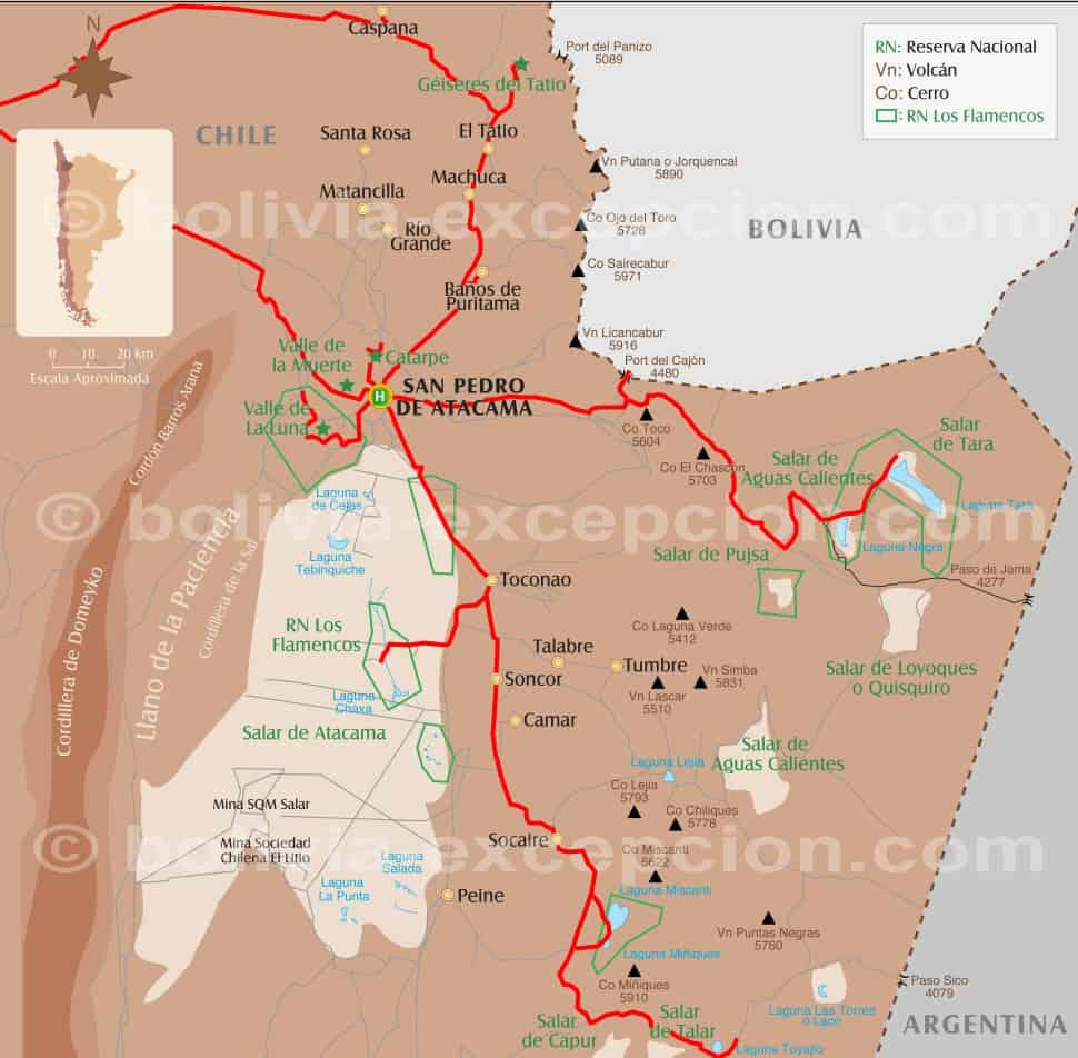 Carte Atacama Chili