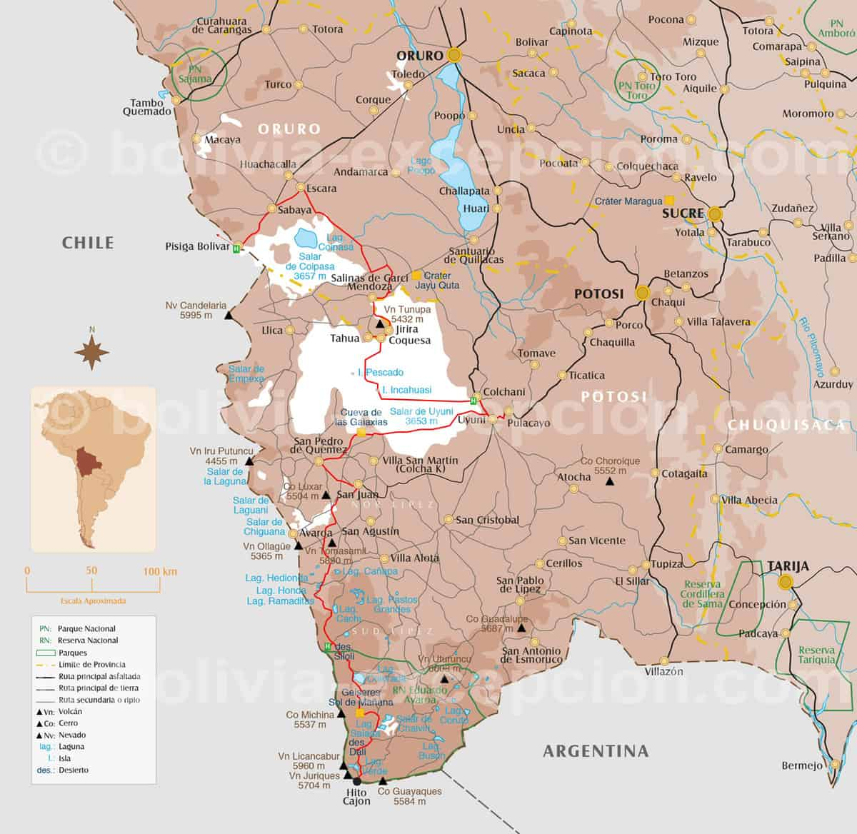 Carte zoom Uyuni