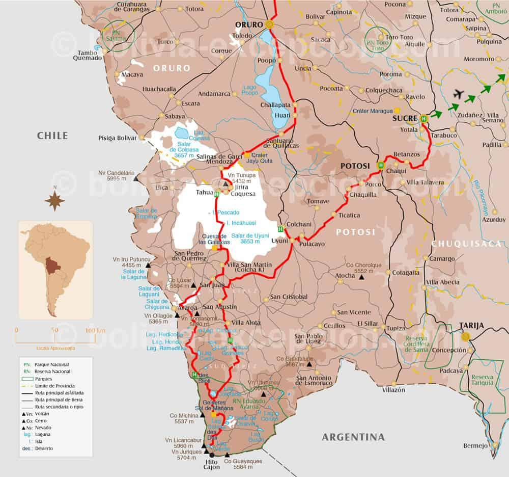 Carte Sud Bolivie