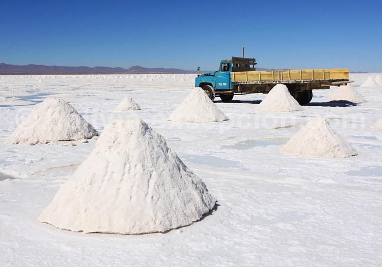 Extraction de sel, salar d'Uyuni