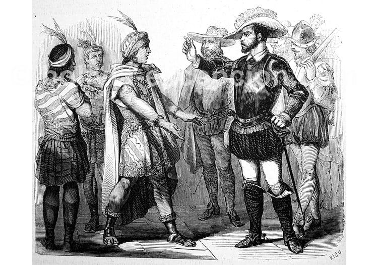 Négociation entre Atahualpa et Pizzaro, Bibliothèque Universidad de Séville