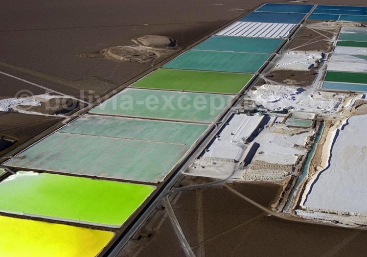 Bassins de décantation, exploitation du lithium, Uyuni