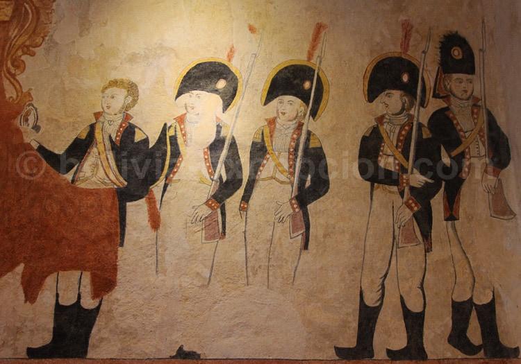 Peinture murale représentant des soldats espagnols