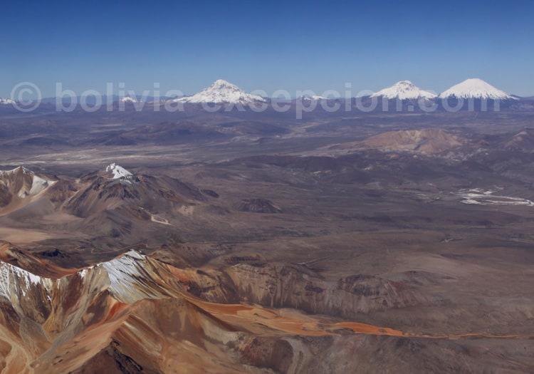 Volcans Sajama, Parinacota et Pomerape