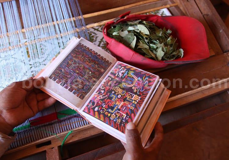 Tissu bolivien et feuilles de coca