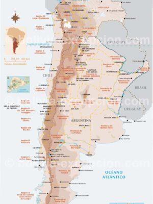 Carte de la Bolivie et Cone Sud