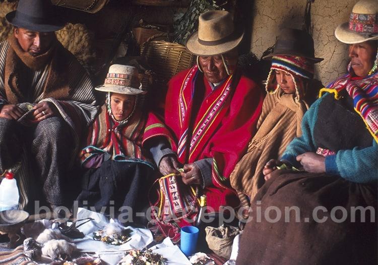 Cérémonie familiale à la Pachamama